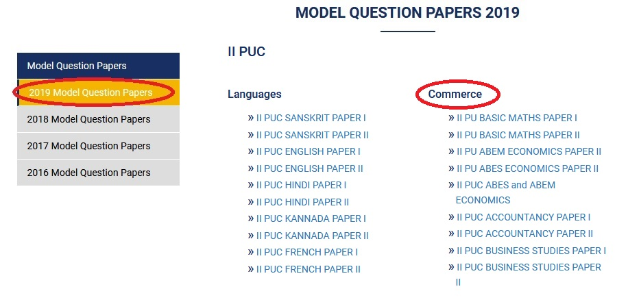 Jain College Pre University II PUC Commerce Mock Question Paper 2019