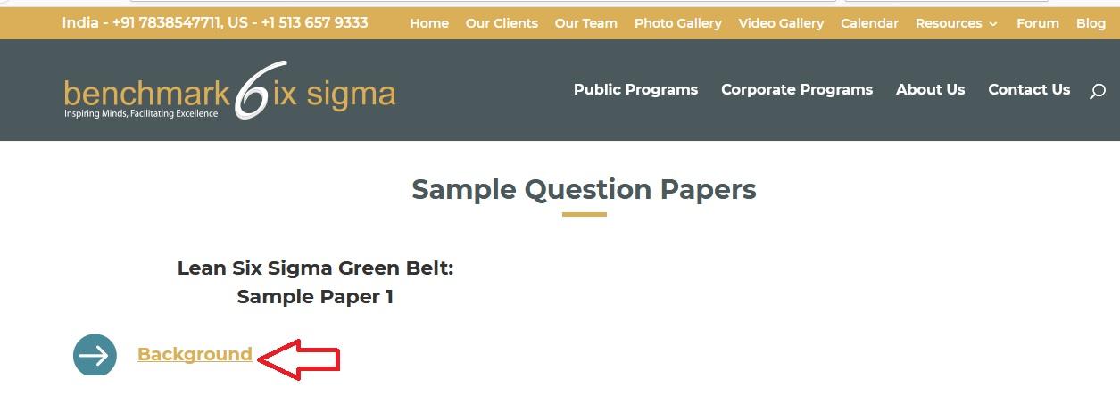 Benchmark Lean Six Sigma Green Belt Sample Paper